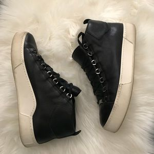 Men's Hightop Balenciaga Leather Sneakers Size 45